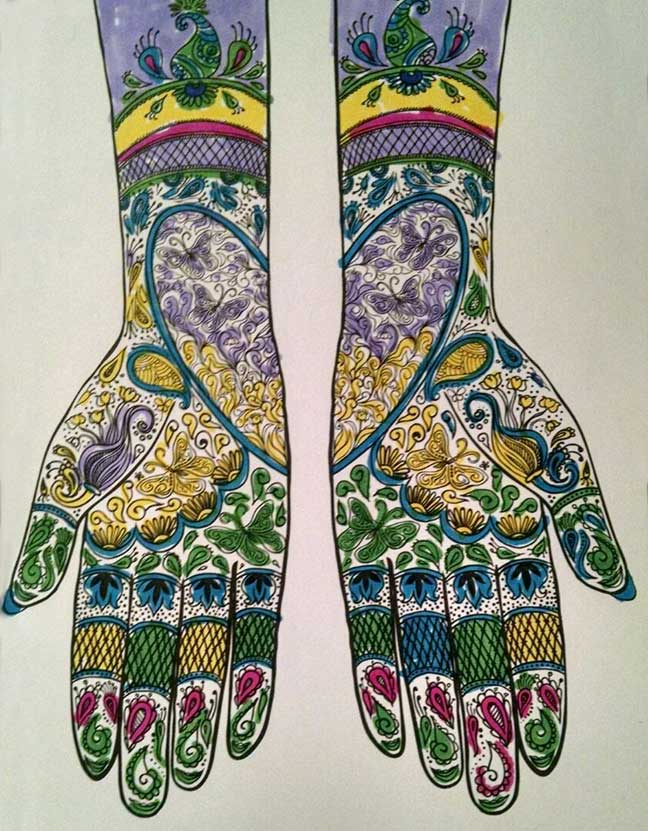Illustration of colorfully drawn hands